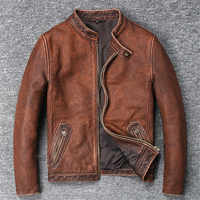 Biker jacket Fashion Pure Cow Leather Coat For Male Spring Autumn Geniune Leather Jackets Short Slim Motocycle Vintage Outwear