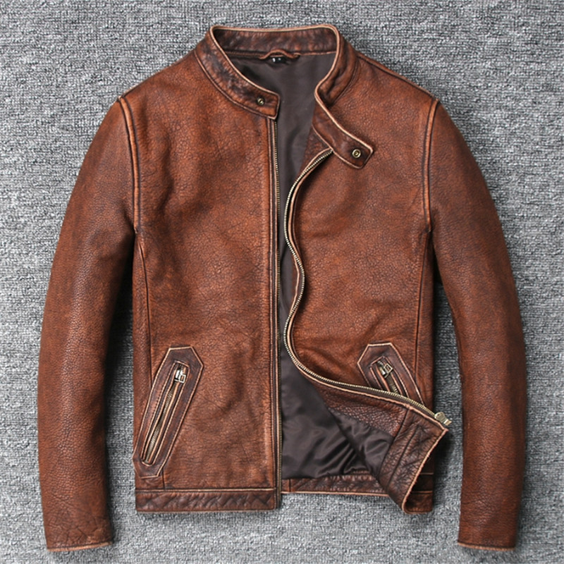 Chaqueta de motorista a la moda abrigo de cuero de vaca pura para hombre primavera otoño chaquetas de cuero Geniune corto Slim Motocycle Vintage Outwear
