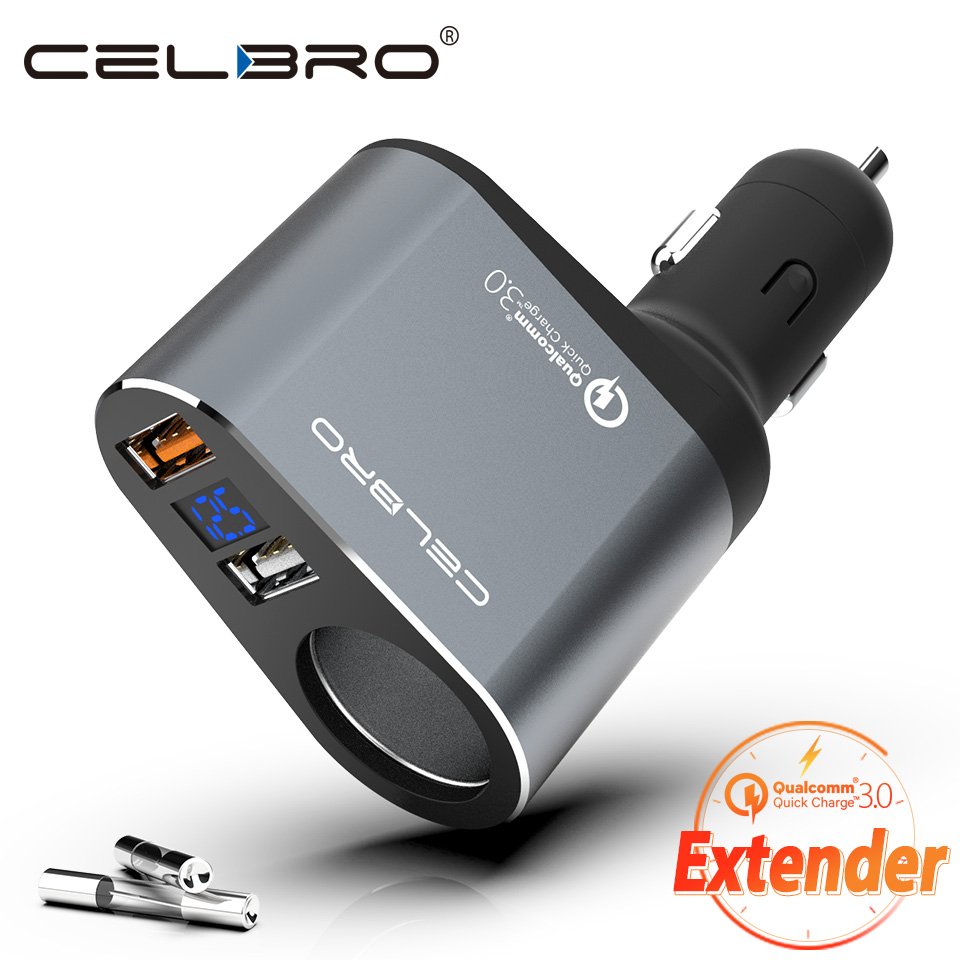 Car Cigarette Lighter Charger Adapter Quick Charge QC 3.0 Car Charger for Mobile Phone Auto Car USB Charger Extension with Fuse Зарядное устройство