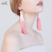 Badu Long Tassel Earring for Women Gradient Color Bohemian Jewelry Holiday Travel Earrings Fabric Drop Dangle
