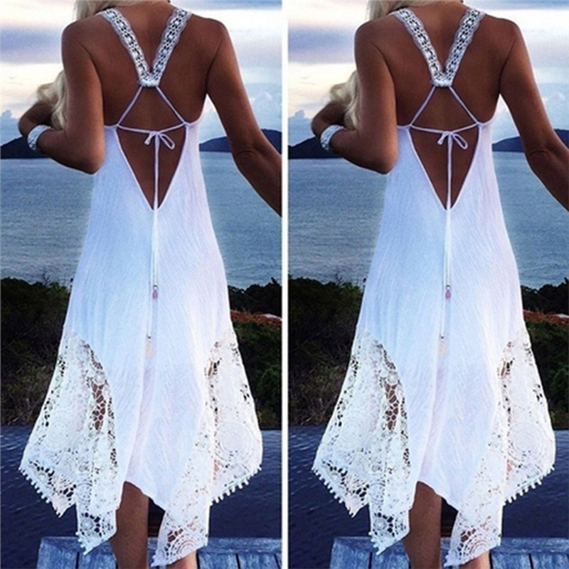 2018 Sexy White Lace Party Skater Dress Women Hollow Out Nude Illusion A-Line Dresses Ladies Sleeveless Midi Beach Dress
