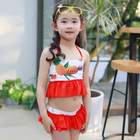 Floral Printed Three Pieces Korean Fashion Girl Swimsuit Kid Bikini Swimwear