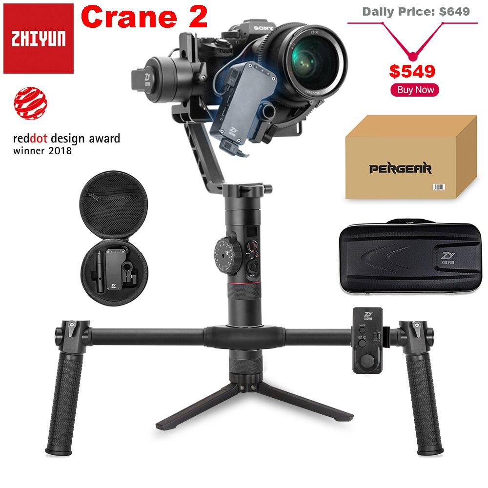 Zhiyun Officielles Grue 2 3-Axe Caméra Stabilisateur avec Servo Follow Focus pour Tous Les Modèles de DSLR Mirrorless Caméra canon Sony