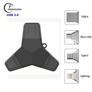 Image 1 - Ingelon Usb 3.0 pen drive flash 32gb 64gb 128gb pendrive usb c micro typu c z systemem Android w stylu Y szyfrowane pamięć Usb dla iphone