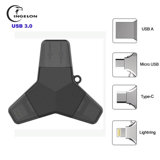 Ingelon Usb 3.0 pen drive flash 32gb 64gb 128gb pendrive usb c micro typu c z systemem Android w stylu Y szyfrowane pamięć Usb dla iphone