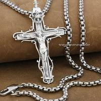 925 Sterling Silver Jesus Crucifix Cross Sword Skull Mens Biker Pendant 9F027A Necklace 24inch