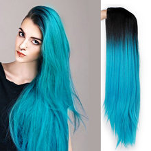 Ombre Blue Green Straight Long Synthetic Wigs For Women Black Pink Wigs 24 inch can be Cosplay Wigs Heat Resistant I's a wig(China)