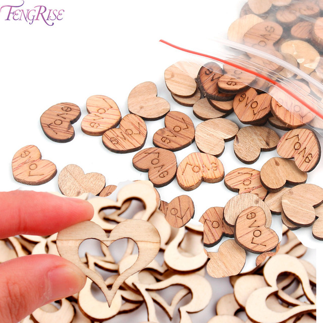 Fengrise 50 100pcs Wooden Love Heart Wedding Decoration Wood Crafts