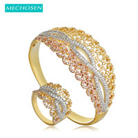 MECHOSEN Fashion Dubai Jewelry Sets Hollow Flower Bangles Ring For Women Lady Hand Accessories 3 Tones Micro Paved Zircon Bangle