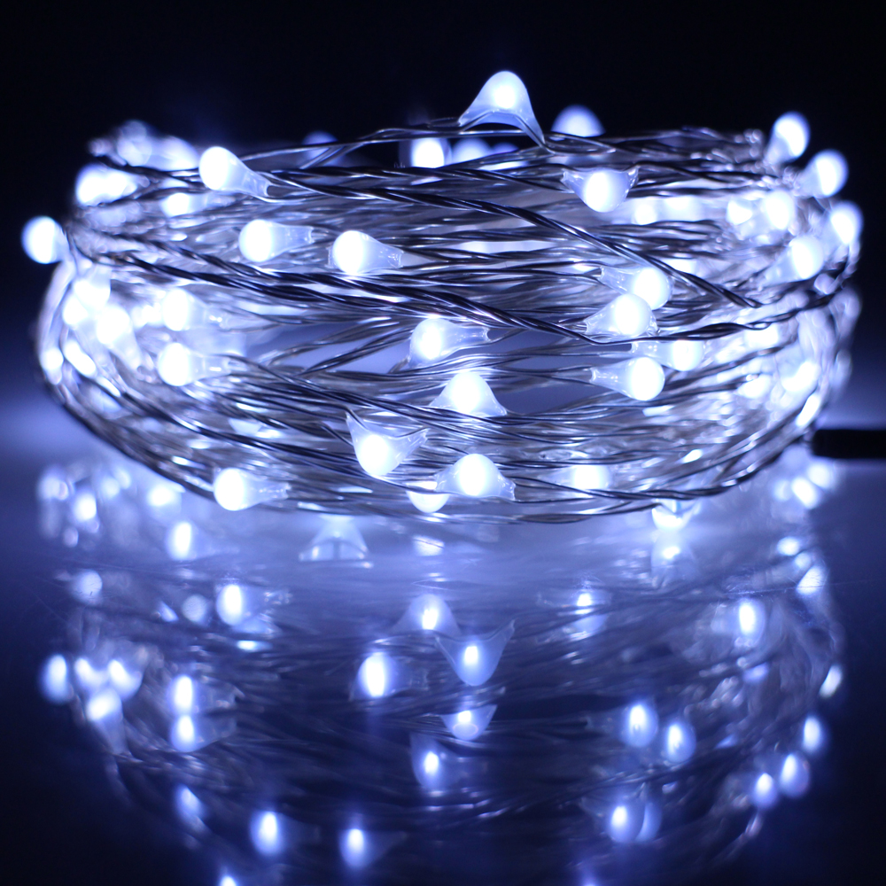 100LED 33Ft 10m Led string Lights Dec Chrismas Halloween Party Silver Wire Fairy String Lights With 5V1A Adapter(EU,UK,US Plug) ...