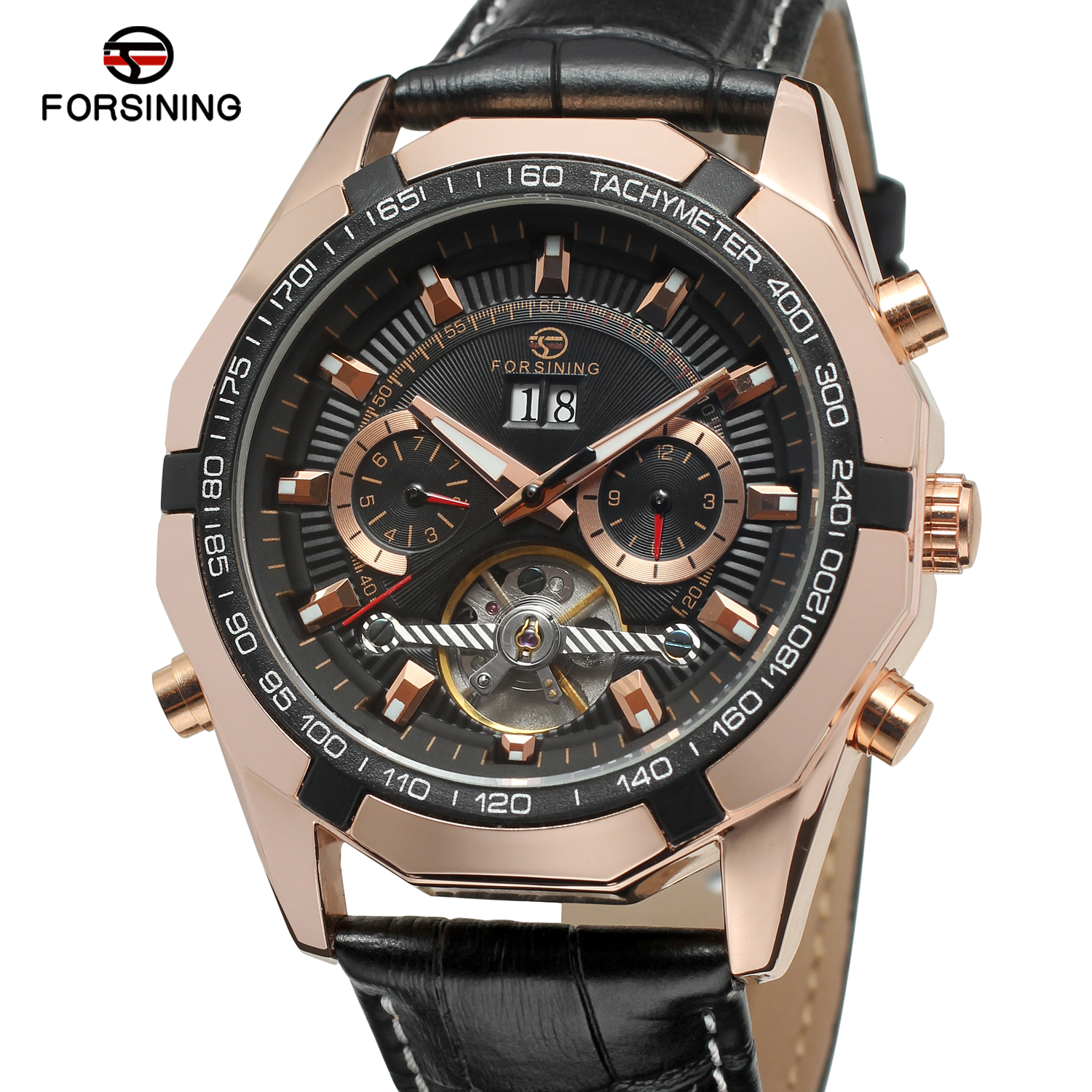 Forsining Top Brand Business Mens Watch Gold  Leather Automatic Mechanical Toubilion Wrist Watches Relogio MasculinoForsining Top Brand Business Mens Watch Gold  Leather Automatic Mechanical Toubilion Wrist Watches Relogio Masculino