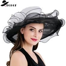FGHGF Women's Kentucky Derby Hat Luxury Ruffle Brim Floral Aside Patchwork Organza Wide Brim Hat Summer Church Party Wedding Hat