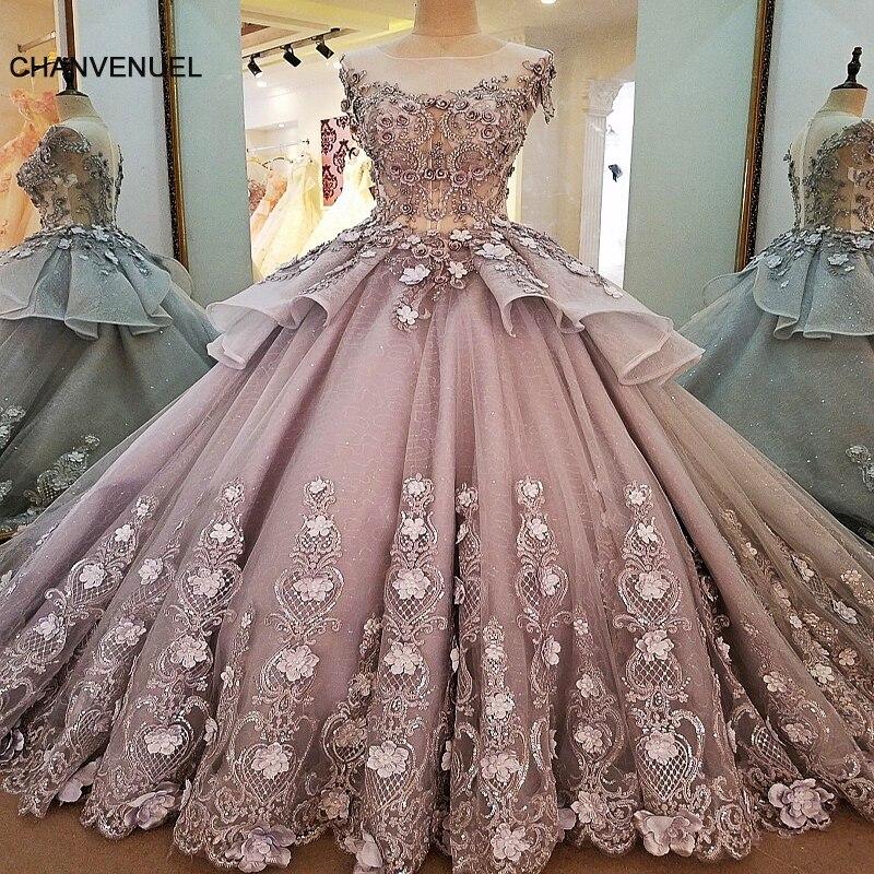 LS00056 vestiti da sera lunghi fiori zipper indietro robe de soiree 2018 solde elegante grigio ball gown abito da sera real foto