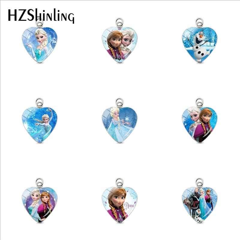 2019 New Fashion Snow Queen Princess Elsa Anna Glass Cabochon Heart Charms Jewelry Stainless Steel Plated Pendant Gifts