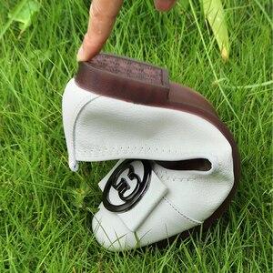 Image 4 - OUKAHUI zapatillas de Ballet de piel auténtica para mujer, zapatos de punta cuadrada con hebilla redonda de Metal, cómodos, para otoño