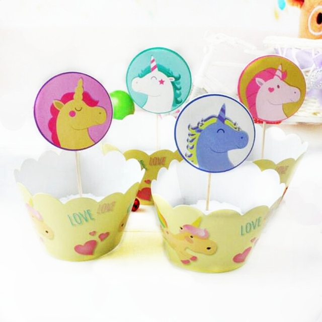 24pcs Cartoon Unicorn Multicolor Horse Cupcake Wrapper Toppers Baby ...