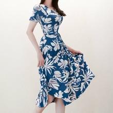 цена на Women Short Sleeve Midi Print Floral Dress Women Summer Clothes for Ladies Dress Plus Size Big Swing Corset Vintage Dress Robe