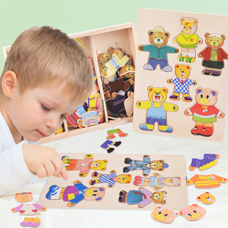 Logwood Baby Toy Set Baby Educational Table Game Bear