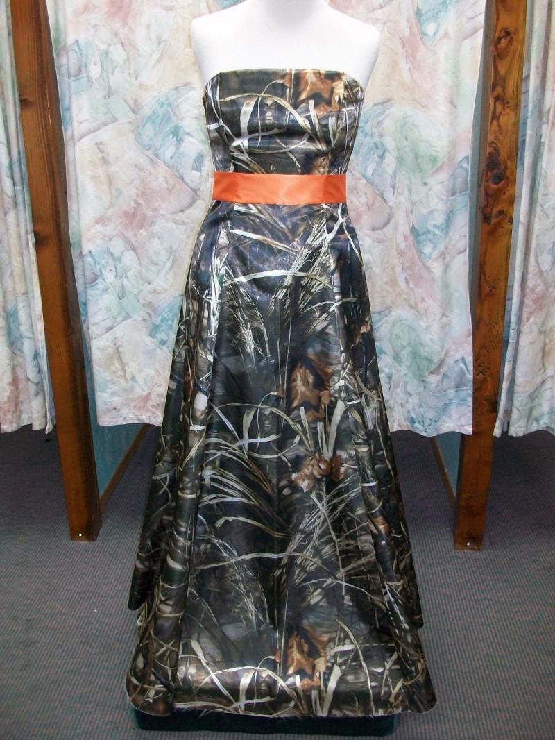 free shipping strapless camouflage orange camo prom dress long 2017 ...