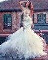 Dreagel Glamorous Tulle Illusion High Neck Beaded Mermaid Wedding Dresses 2017 Exquisite Appliques Bridal Dress Robe de Mariage
