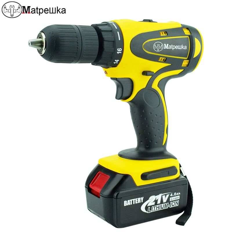 21v mini electric screwdriver cordless drill electric tool 4.0Ah lithium battery screwdriver 13mm super high horsepower цена