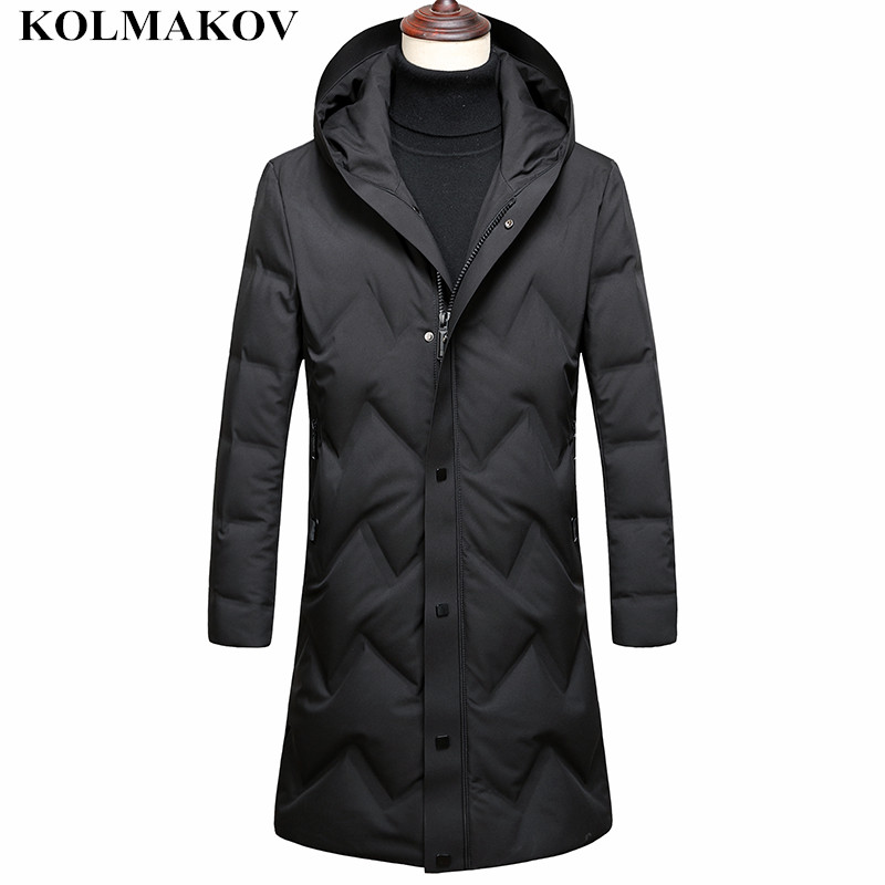 KOLMAKOV Men's Clothing 2018 New Men's Winter Thick   Coat   Men Long Mens Duck   Down     Coats   Outwear Long Duck   Down   Jackets Men M-3XL