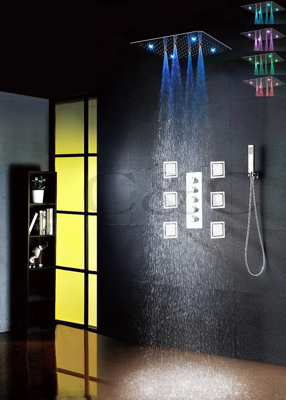 De luxe LED Salle De Bains Robinet De Douche Ensemble 20 pouce Ultra-mince 7 Couleurs 100 v ~ 240 v AC LED tête de douche De Massage Grand Bain Pulvérisation Jets