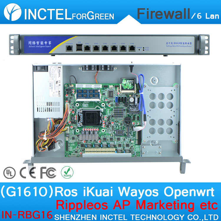 G1610 CPU 6*Gigabit Flow Control Rack Ears Wireless Firewall Router with 1000M 6*82574l IN-RBG16