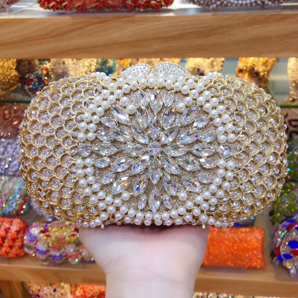 купить XIYUAN BRAND Multicolor Diamond Crystal Clutch Minaudiere Wedding Cocktail Metal Handbag Purse wallet crossbody messenger bags онлайн