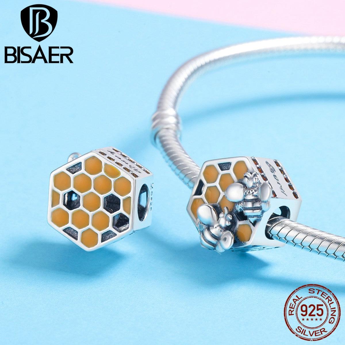 BISAER 100% 925 Sterling Argent Abeille De Nid D'abeille Charme Perles fit Femmes Charm Bracelets BRICOLAGE Argent Perles Fabrication de Bijoux GXC500