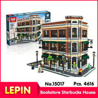LEPIN 15017 4616Pcs Street View Series Bookstore Starbucks House Model Building Minigifure Blocks Bricks With Original