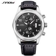 SINOBI Mens Military Chronograph Wrist font b Watches b font Luxury Date Leather Clock Male font