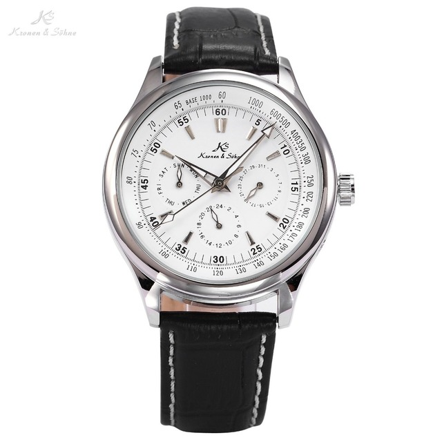 Ks Luxury Automatic Calendar Genuine Leather Strap Wrap Gift Analog Wrist Business Dress Men's Mechanical Self Wind Watch/ KS096