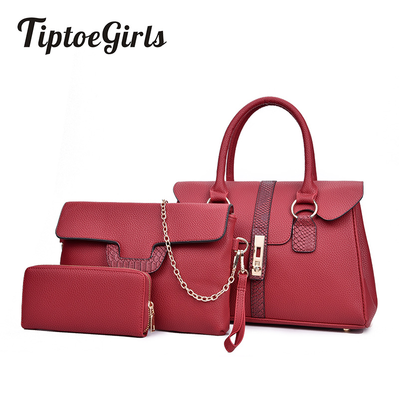 Europe and the United States New Three-Piece Fashion Mother and Daughter Personalized Splicing Hand Shoulder Diagonal Handbags
