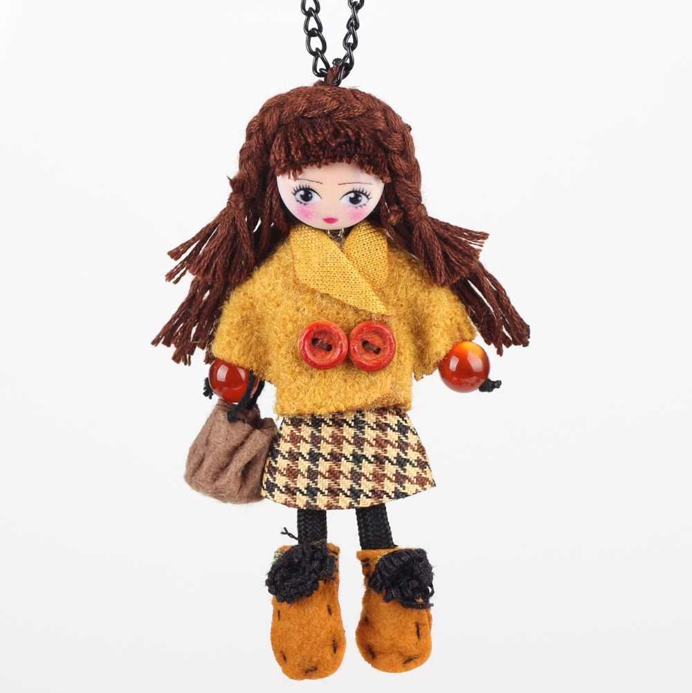 Bonsny ручной работы французская Кукла Ожерелье положение девушки ткань цепочка для мужчин в стиле хип-хоп 2016 Новый брендовый колье-чокер для Для женщин аксессуары