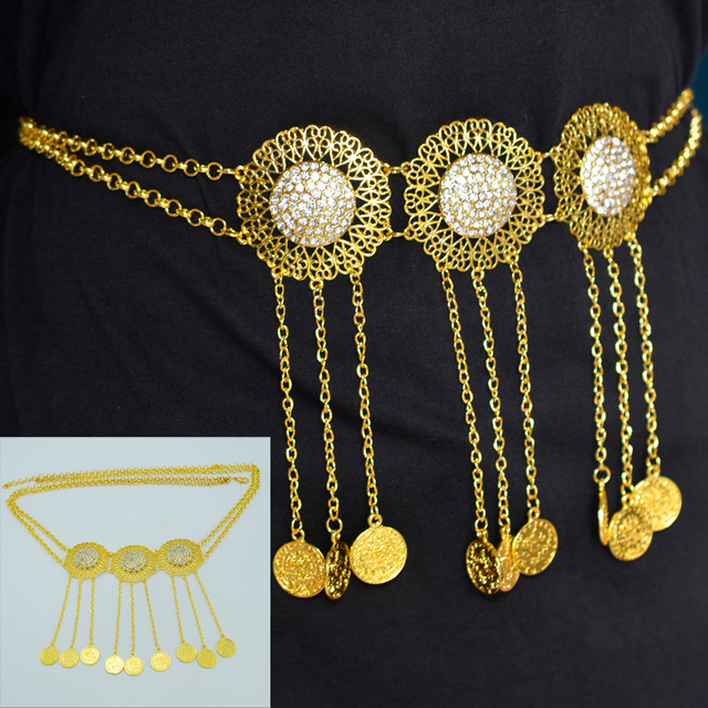 Length 102cm 5cmturkey Coin Belt Gold Plated Arab Belly Jewelry
