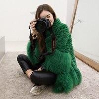 Женское зимнее пальто из натурального кроличьего меха и меха монгольской овцы с воротником-стойкой, свбодная верхняя одежда из натуральног...