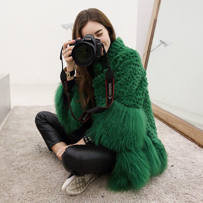 Fourrure de lapin naturel et mongolie fourrure de mouton patchwork manteaux d'hiver femmes stand col ample réel manteau de fourrure manteaux 2018 nouveau