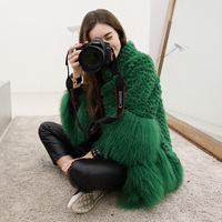 Natural rabbit fur and mongolia sheep fur patchwork winter coats women stand collar loose fit real fur coat outerwear 2018 new