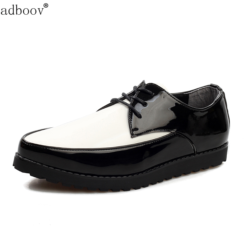 free ship mens patent leather skate shoes glossy black mixed white colors cool boys japanned leather flats leisure shoes for man
