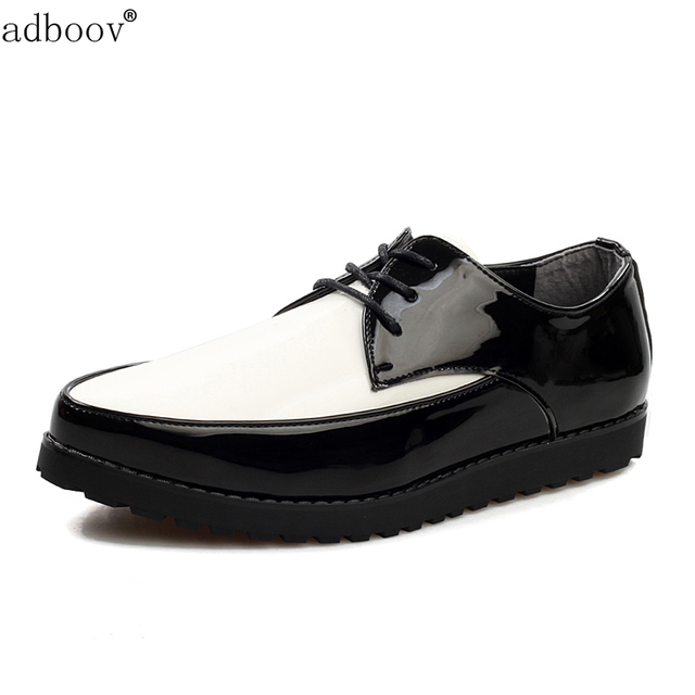 a25aaf080e51 free ship mens patent leather skate shoes glossy black mixed white colors  cool boys japanned leather flats leisure shoes for man