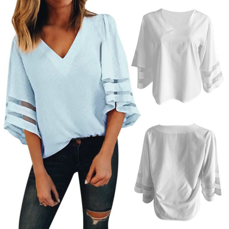 HTB1XTDFKb1YBuNjSszhq6AUsFXaE - Summer streetwear style women cute chiffon blouses casual flare sleeve shirts white loose tops patchwork mesh shirts
