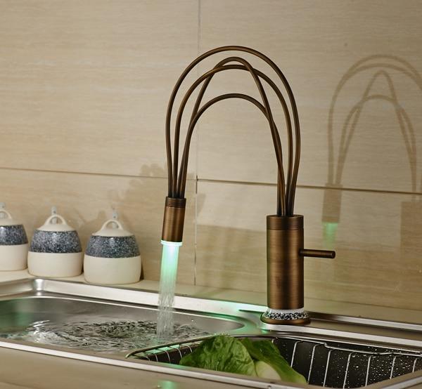 NEW Bird Nest Design LED Antique Brass Kitchen Faucet Swivel Spout Single Handle Sink Mixer Tap antique brass swivel spout dual cross handles kitchen