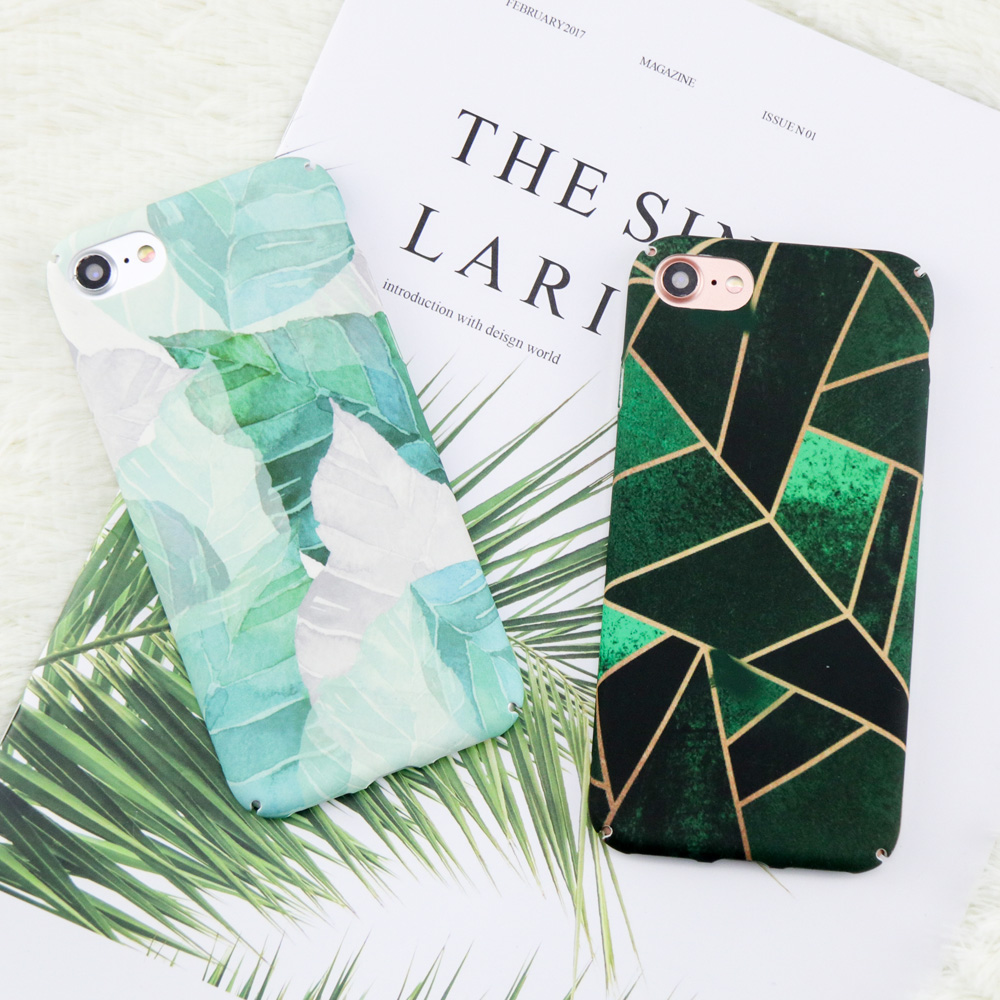 Retro Plants Leaf Case For iphone 7 Case For iphone 7 6 6S 8 Plus Phone Cases Abstract Geometric Graphic Pattern Hard Back Cover
