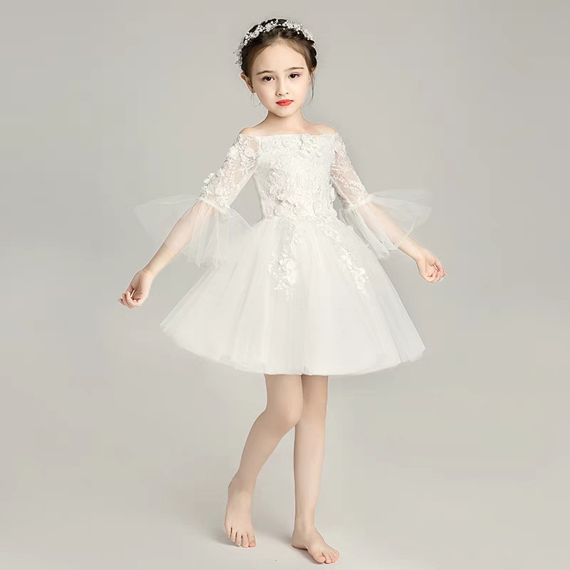 Girls Children White Color Birthday Wedding Party Princess Flowers Lace Prom Dress Kids Teens Elegant Piano Costume Host Dress elegant children girls lace princess birthday wedding party pink dresses kids babies clothing costume piano host tutu mesh dress