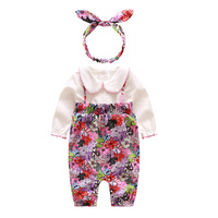 New Baby Girls Set Spring Autumn Soft Cotton Set Flower Long Sleeve Romper Baby Girl Clothes