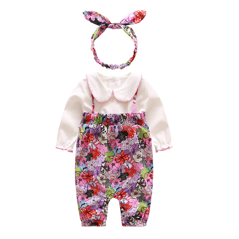 New Baby Girls Set Spring Autumn Soft Cotton Set Flower Long Sleeve Romper Baby Girl Clothes Newborn Roupa Infantil Kids ...