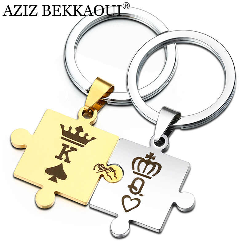 AZIZ BEKKAOUI Letters K & Q Couple Keychain with Crown Fashion Stainless Steel Keyring King & Queen Family Gift Dropshipping