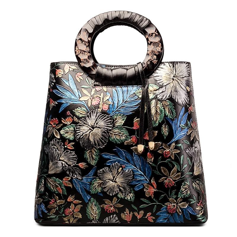 QISU 11.11 Super Deal Designer Ladies Leather satchel women's vintage design embossed leather handbags vintage engraving and fringe design women s satchel