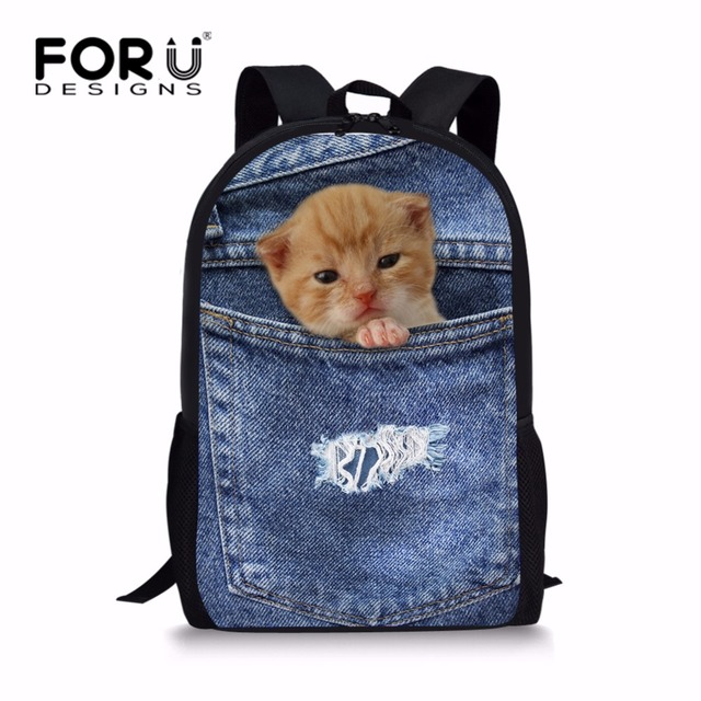 FORUDESIGNS Personalized Teen Girls School Bags Cute Denim Cat Schoolbag for  Kids Primary Junior Student Bookbag Mochila 666c0e2d8b3b6